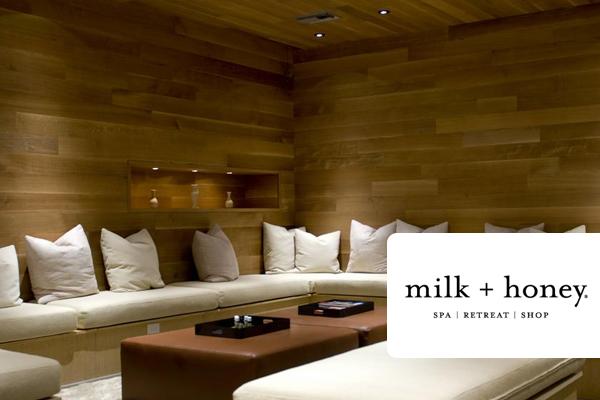 Milk + Honey interior and logo