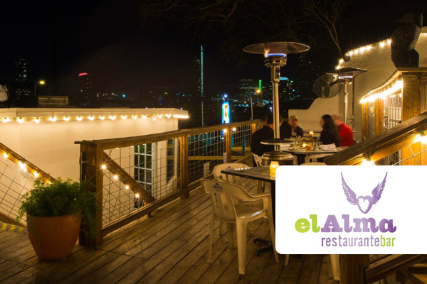 El Alma patio and logo